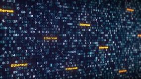Ethereum attribue un libelle apparaître parmi changer des symboles hexadécimaux sur un écran d'ordinateur rendu 3d Photos libres de droits