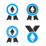 Ethereum Award Medal Vector Icon Set. Style is bicolor flat symbols Stock Image