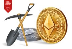 Ethereum-Bergbaukonzept isometrische körperliche Münze des Stückchen 3D mit Hacke und Schaufel Digital-Währung Cryptocurrency Gol lizenzfreie abbildung