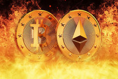 Ethereum and Bitcoin are HOT Stock Photos