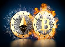Ethereum and Bitcoin Royalty Free Stock Photo