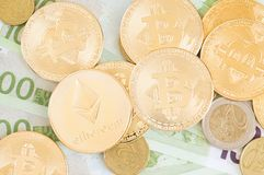 Ethereum, bitcoins and other coins royalty free stock images