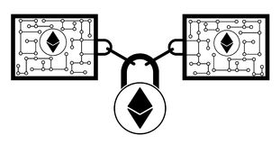 Ethereum block chain technology icon,vector disign,disign concept on a white background. Interlocking the blocks with each other using the lock code Stock Images