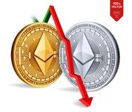 Ethereum Caída Flecha roja abajo El grado del índice de Ethereum va abajo en mercado de intercambio Moneda Crypto de oro físico i Imágenes de archivo libres de regalías