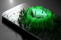 Ethereum Classic Cloner Smartphone. A microscopic closeup concept of small cubes in a random layout that build up to form the ethereum classic symbol illuminated Stock Image