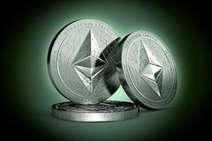 3 Ethereum classic ETC physical concept coins on gently lit green background. 3D rendering. New virtual money stock illustration
