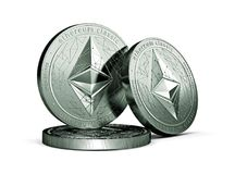 3 Ethereum classic ETC physical concept coins isolated on white background. 3D rendering. New virtual money stock illustration