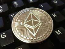 Ethereum classic is a modern way of exchange and this crypto currency is a convenient means of payment in the financial and web ma royalty free stock photos