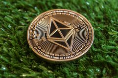 Ethereum classic is a modern way of exchange and this crypto currency is a convenient means of payment in the financial and web ma stock photos