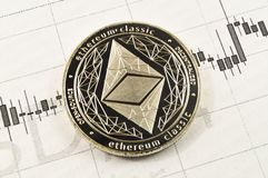 Ethereum classic is a modern way of exchange and this crypto currency. Is a convenient means of payment in the financial and web markets stock photo