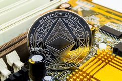 Ethereum classic is a modern way of exchange and this crypto currency royalty free stock image