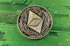Ethereum classic is a modern way of exchange and this crypto currency. Is a convenient means of payment in the financial and web markets royalty free stock photos