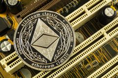 Ethereum classic is a modern way of exchange and this crypto currency. Is a convenient means of payment in the financial and web markets royalty free stock images