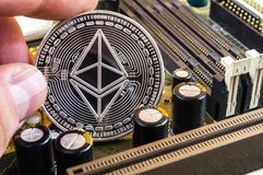 Ethereum classic is a modern way of exchange and this crypto currency. Is a convenient means of payment in the financial and web markets royalty free stock image