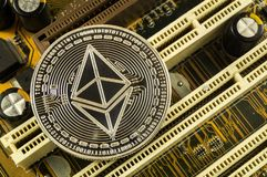 Ethereum classic is a modern way of exchange and this crypto currency. Is a convenient means of payment in the financial and web markets stock photography