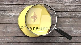Ethereum close up, magnifying glass, crypto currency analysis royalty free illustration
