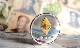 Ethereum coin against of different banknotes Stock Images