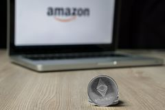 Ethereum coin with the Amazon logo on a laptop screen, Slovenia - December 23th, 2018 stock photo