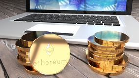 Ethereum coin, bitcoin alternative, computer in the background. Laptop in the background and a stack of golden ethereum coins, bitcoin alternatives, wooden table Royalty Free Stock Photos