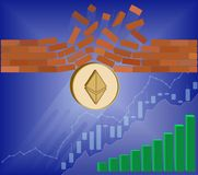 Ethereum coin breaks through the wall resistance. With growth chart on a blue background , the price of crypto currency is rising , vector image design concept Royalty Free Stock Images
