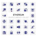 ETHEREUM Coin Crypto Currency icons set. For web design and application interface, also useful for infographics. Vector illustration Royalty Free Stock Images