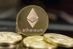 Ethereum coin on dark background stock image