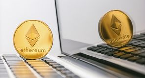 Ethereum coin - Digital cryptocurrency on notebook royalty free stock photo