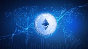 Ethereum coin on hud background with bull stock chart. Royalty Free Stock Images