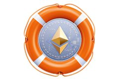 Ethereum coin in the lifebuoy, protection and safety concept. 3D Stock Photo
