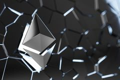 Ethereum coin logo 3D illustration. Royalty Free Stock Image