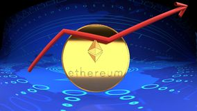 Ethereum coin, online money, digital cash, another cyber coin. Online option for bitcoin, ethereum, eth, digital cash, internet money, market value rising chart Royalty Free Stock Photo