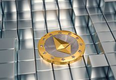 Ethereum Coin on silver cubes - 3D Rendering Stock Images