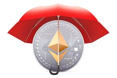 Ethereum coin under red umbrella, protection and safety concept. 3D rendering isolated on white background Royalty Free Stock Images