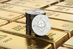 Ethereum coins laying on stacked gold bars gold ingots rendere. D with shallow depth of field. Concept of highly desirable cryptocurrency. 3D rendering Vector Illustration