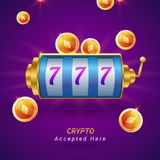 Ethereum coins, and roulette on sparkling purple background. Fly. Er, poster or banner design with Cryptocurrencies accepted here text Royalty Free Stock Photo