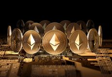 Ethereum coins standing on close-up video card. Using powerful Video cards to mine and earn cryptocurrencies concept. Stock Photo