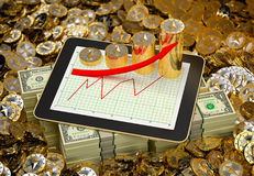 Ethereum Coins - Tablet showing profit growth - 3D Rendering Stock Photos