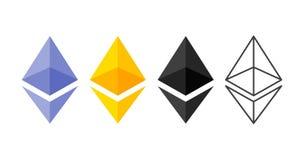 Ethereum cripto货币chrystal象集合 Blockchain平台 聪明的技术的标志 分散的计算机 库存例证