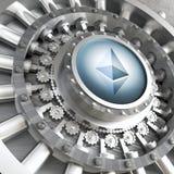 Ethereum cryoto vault. Crypto currency concept bank ethereum vault door 3d rendering image Stock Image