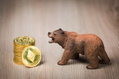Ethereum crypto bear market concept stock photos