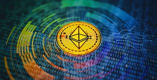 Ethereum Crypto Currency Abstract Background. Crypto currency abstract background. 3D illustration Stock Images