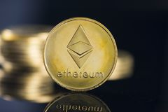 Ethereum crypto currency. And background stock photos