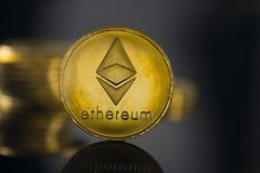 Ethereum crypto currency. With black background stock image