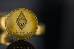 Ethereum crypto currency. Closeup and background stock images