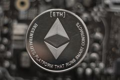 Ethereum. Crypto currency ethereum. e-currency ethereum. On the motherboard stock image