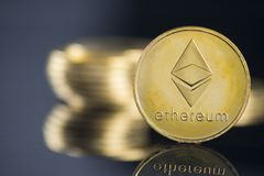 Ethereum crypto currency. And background royalty free stock photo