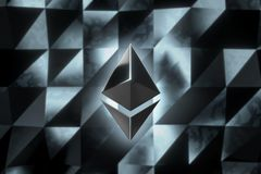 Ethereum currency logo 3D illustration. Ethereum crypto currency logo over abstract low poly background. 3D render Stock Photos