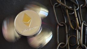 Ethereum Crypto Currency, rotating mirror surface, red laser and chain. Close up cryptocurrency mining and blockchain concept stock video footage