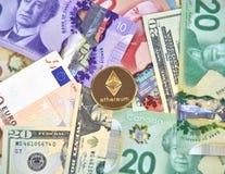 ETHEREUM cryptocurrency硬币 库存图片
