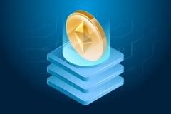 Ethereum cryptocurrency 数字式或电子货币 Blockchain技术和采矿过程 免版税库存照片